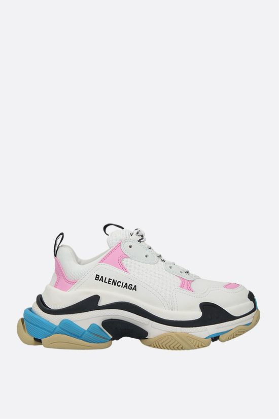BALENCIAGA: Triples S smooth leather and mesh trainers Color Multicolor_1