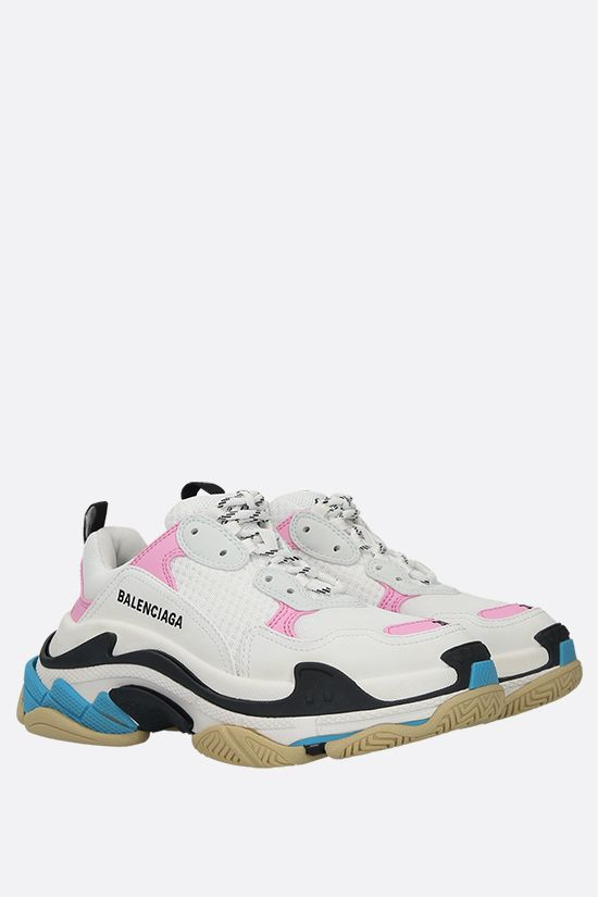 BALENCIAGA: Triples S smooth leather and mesh trainers Color Multicolor_2