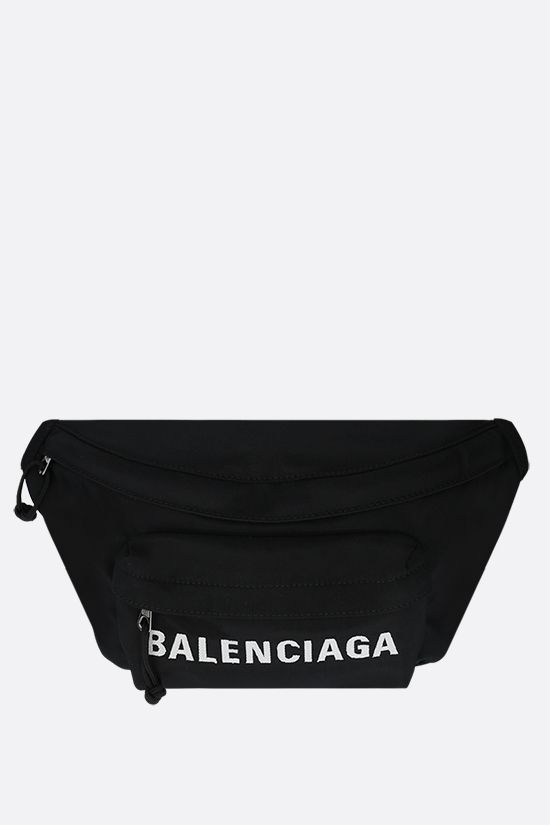 BALENCIAGA: marsupio Wheel in nylon Colore Nero_1