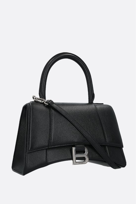 BALENCIAGA: Hourglass small grainy leather handbag Color Black_2