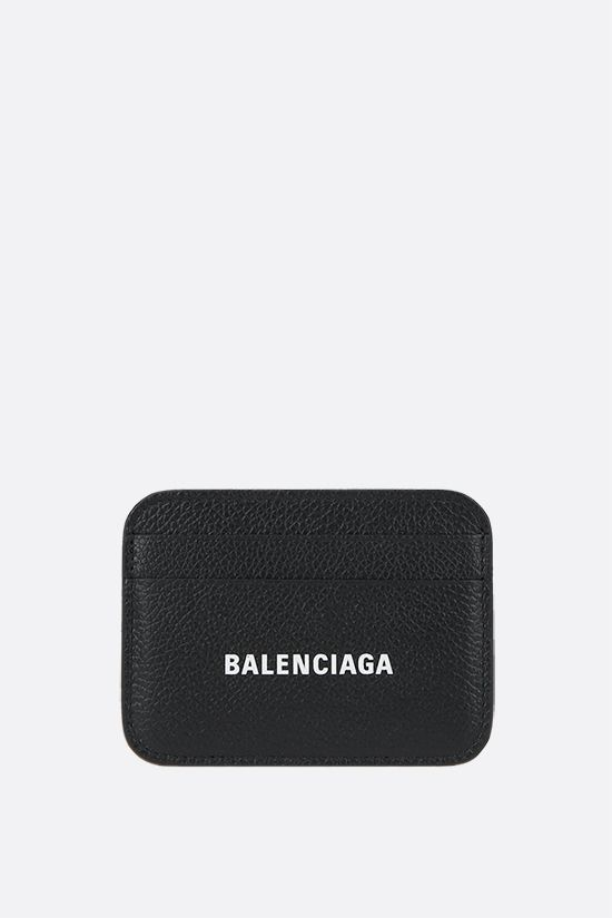 BALENCIAGA: Cash grainy leather card case Color Black_1