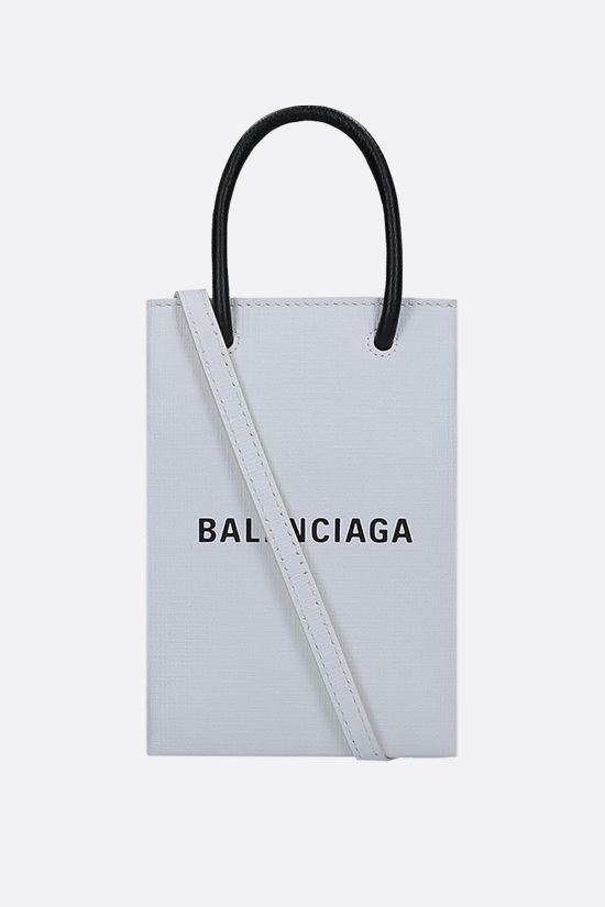 BALENCIAGA: Shopping textured leather phone holder bag Color White_1
