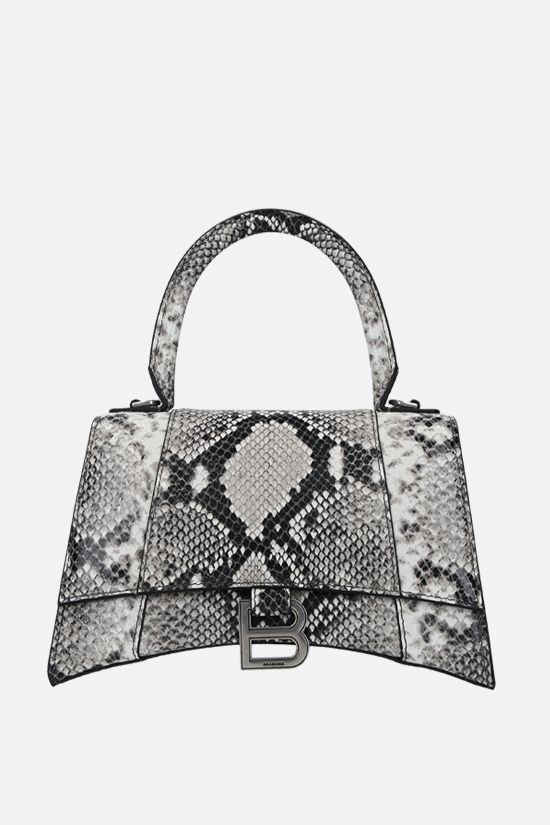 BALENCIAGA: Hourglass small python-embossed leather handbag Color Black_1
