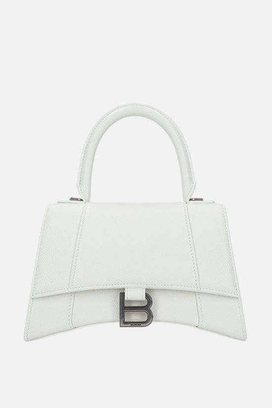 BALENCIAGA: Hourglass small grainy leather handbag Color White_1