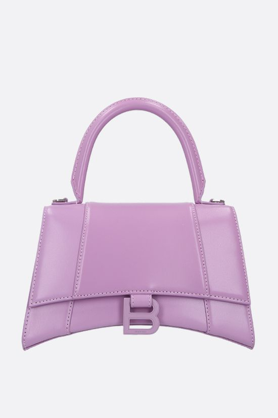 BALENCIAGA: Hourglass small shiny leather handbag Color Purple_1