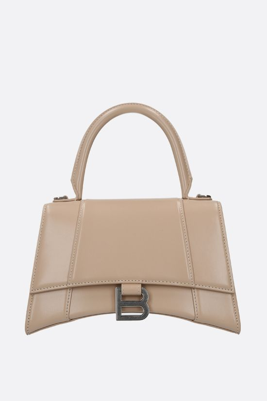 BALENCIAGA: Hourglass small shiny leather handbag Color Neutral_1