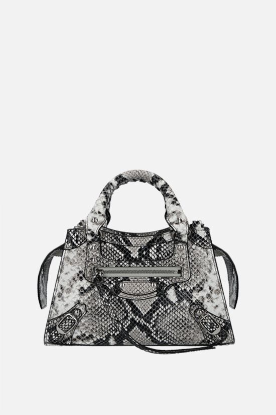 BALENCIAGA: Neo Classic City mini python-embossed leather handbag Color Black_1