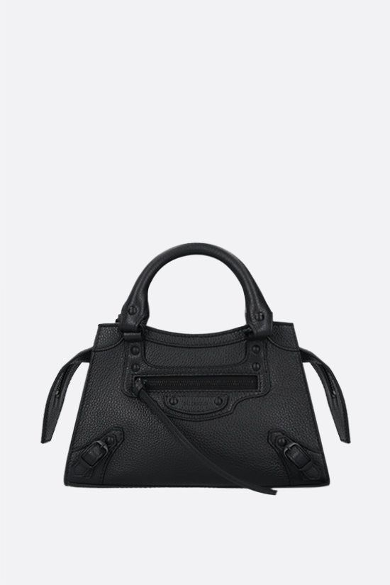BALENCIAGA: Neo Classic City mini grainy leather handbag Color Black_1