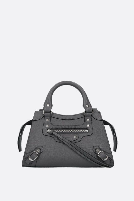 BALENCIAGA: Neo Classic City mini grainy leather handbag Color Grey_1