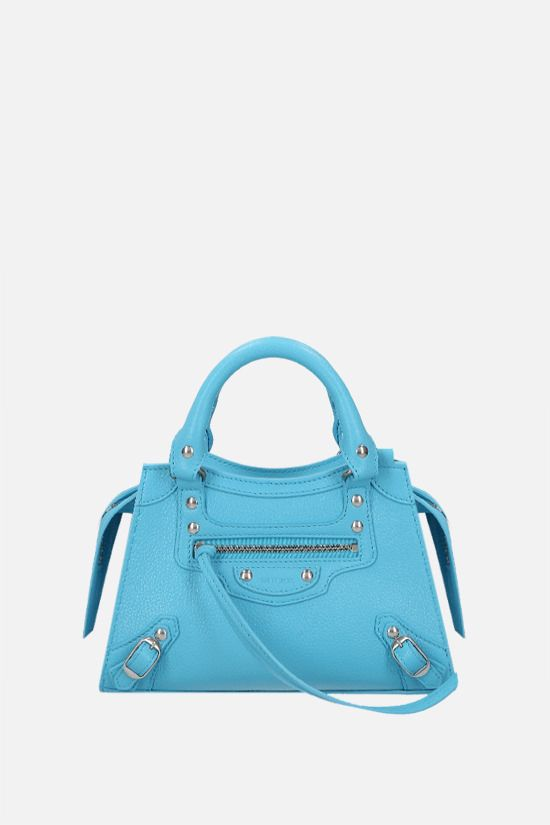 BALENCIAGA: Neo Classic City mini grainy leather handbag Color Blue_1