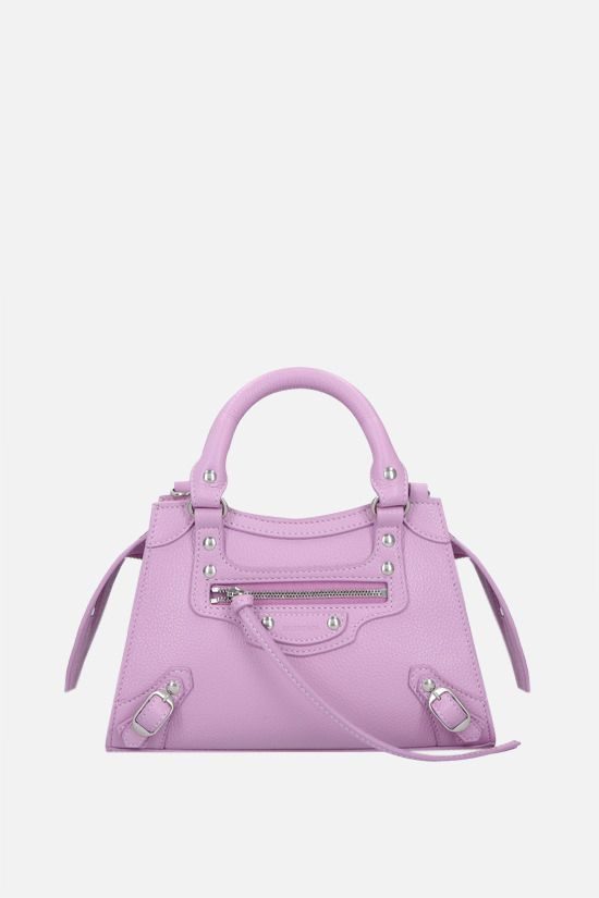 BALENCIAGA: Neo Classic City mini grainy leather handbag Color Purple_1