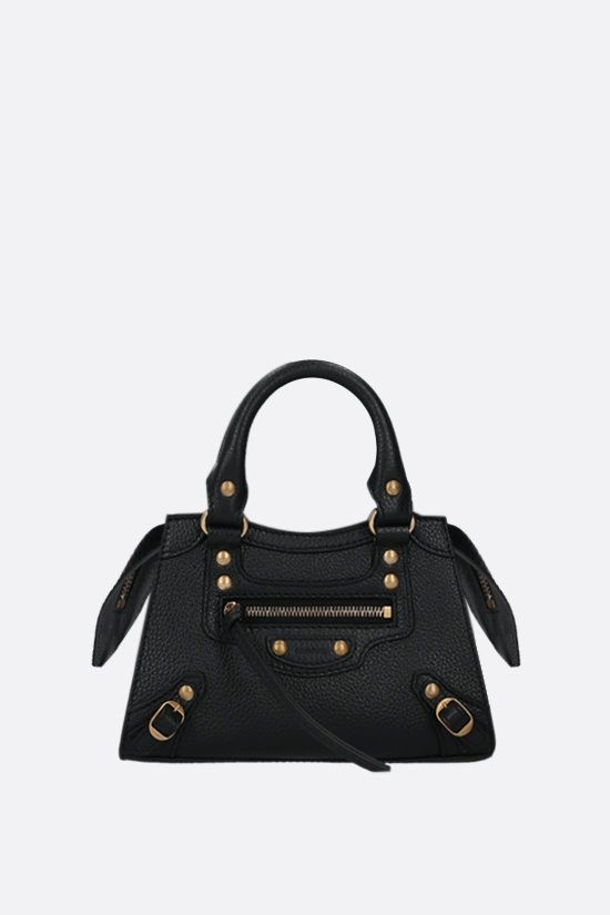 BALENCIAGA: Neo Classic City nano grainy leather handbag Color Black_1
