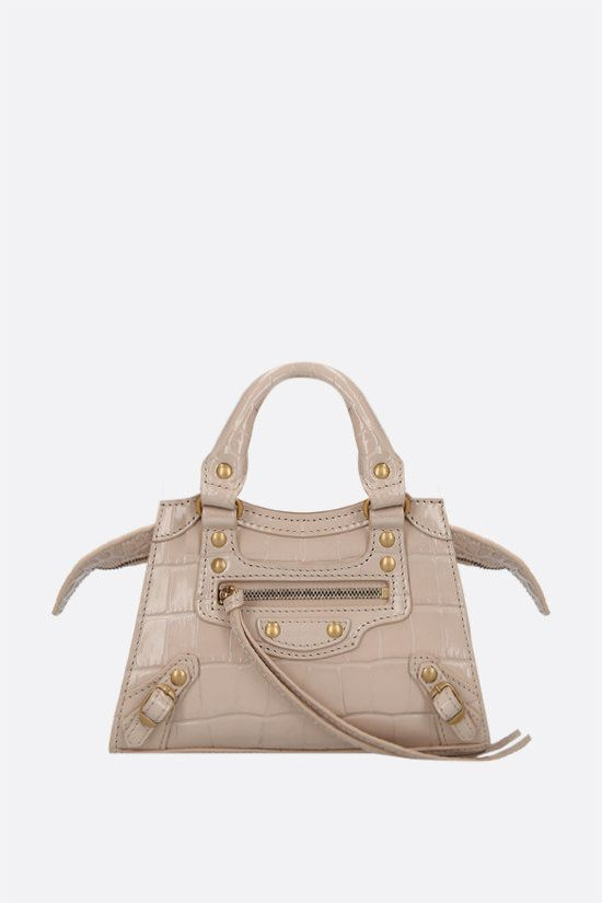BALENCIAGA: Neo Classic City nano croco-embossed leather handbag Color Neutral_1