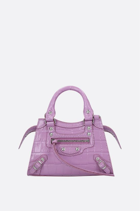 BALENCIAGA: Neo Classic City nano croco-embossed leather handbag Color Purple_1