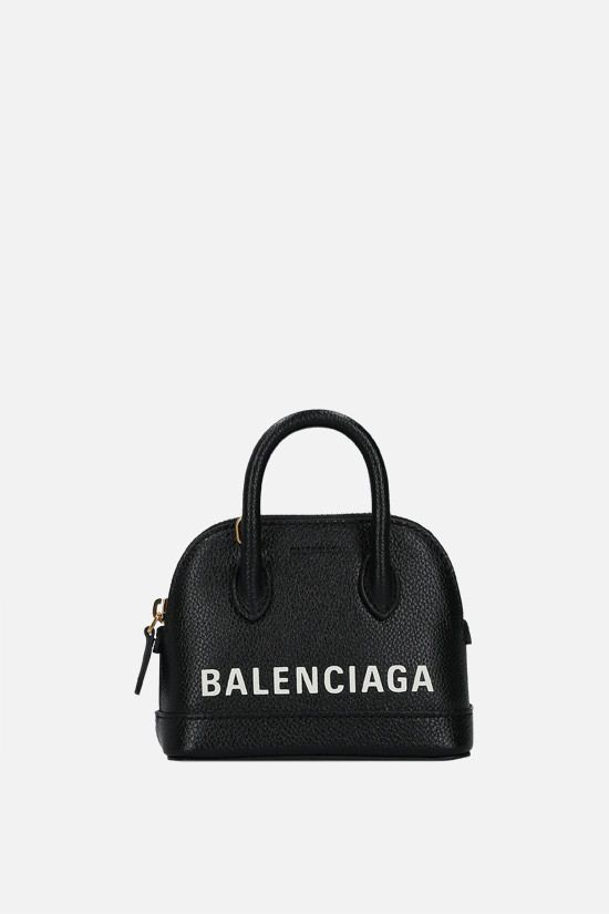 BALENCIAGA: Ville mini grainy leather handbag Color Black_1