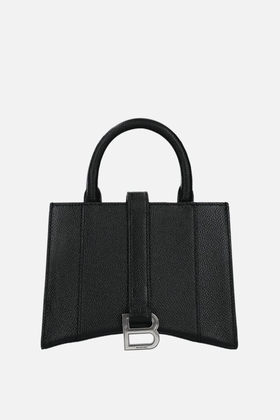 BALENCIAGA: Hourglass XXS grainy leather handbag Color Black_1