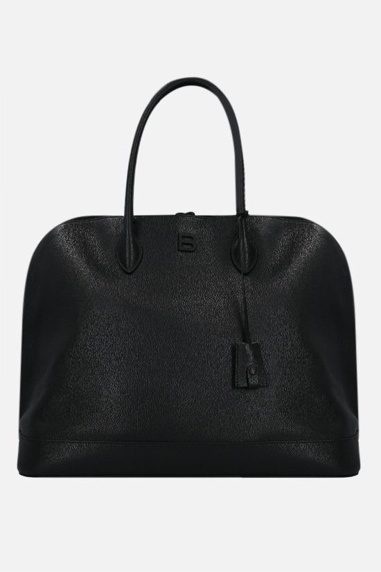 BALENCIAGA: Ville large grainy leather handbag Color Black_1