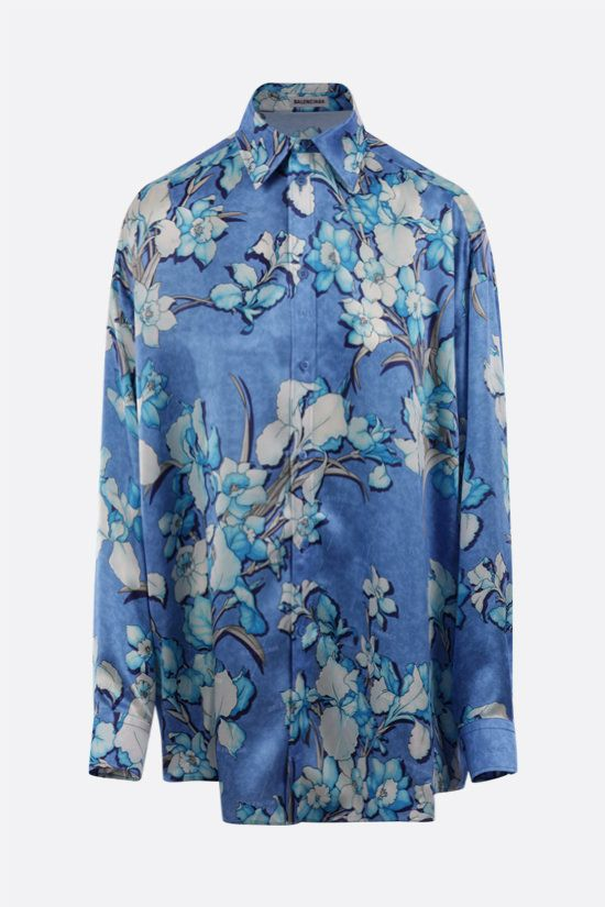 BALENCIAGA: oversize lily print silk shirt Color Blue_1