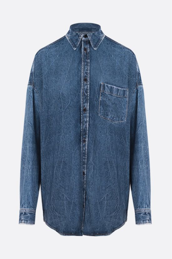 BALENCIAGA: denim-printed poplin oversize shirt Color Blue_1