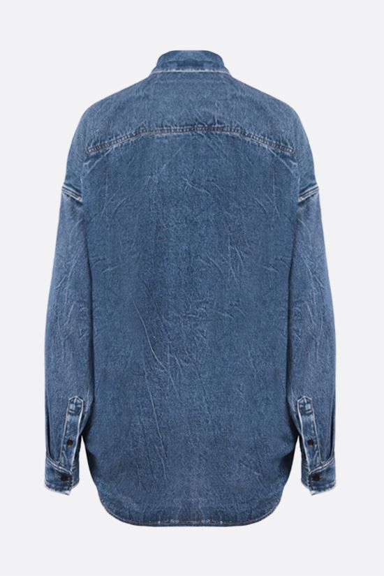 BALENCIAGA: denim-printed poplin oversize shirt Color Blue_2