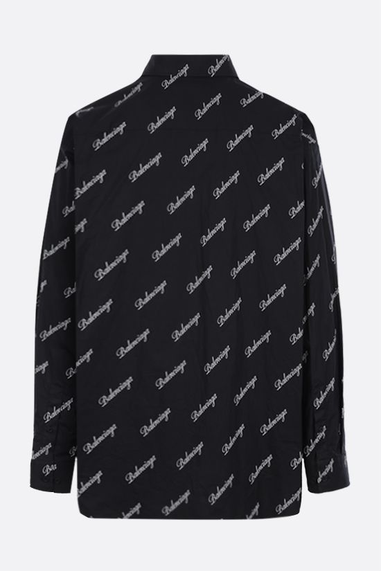 BALENCIAGA: logo print cotton shirt Color Black_2