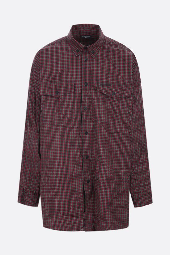 BALENCIAGA: oversize check cotton shirt Color Red_1