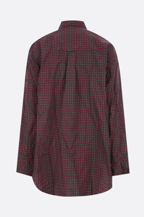 BALENCIAGA: oversize check cotton shirt Color Red_2
