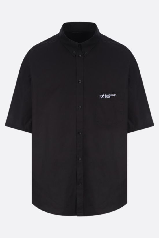 BALENCIAGA: Balenciaga Paris poplin bowling shirt Color Black_1