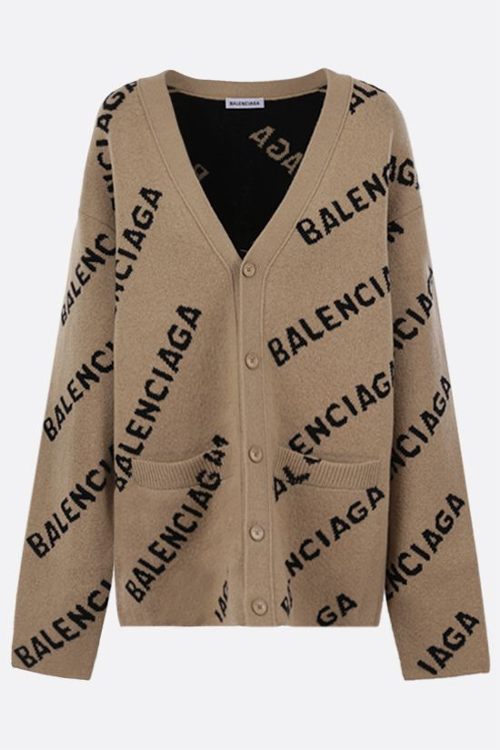 BALENCIAGA: jacquard logo wool blend cardigan Color Multicolor_1