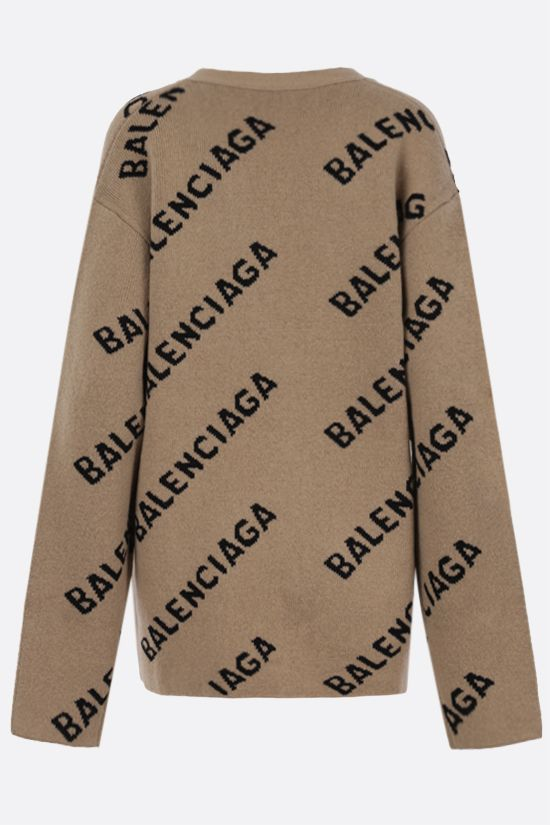 BALENCIAGA: jacquard logo wool blend cardigan Color Multicolor_2
