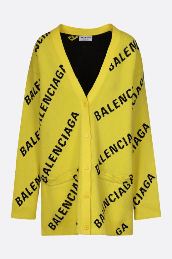 BALENCIAGA: logo-detailed oversize cotton wool blend cardigan Color Yellow_1