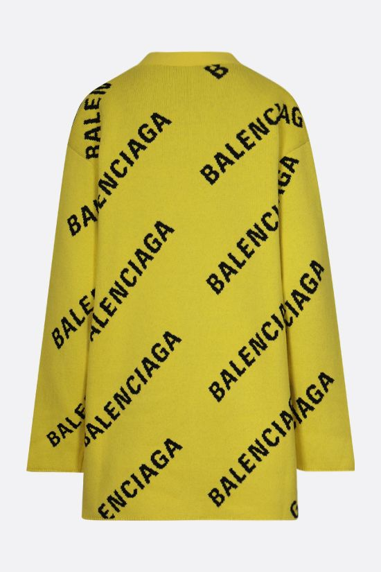 BALENCIAGA: logo-detailed oversize cotton wool blend cardigan Color Yellow_2