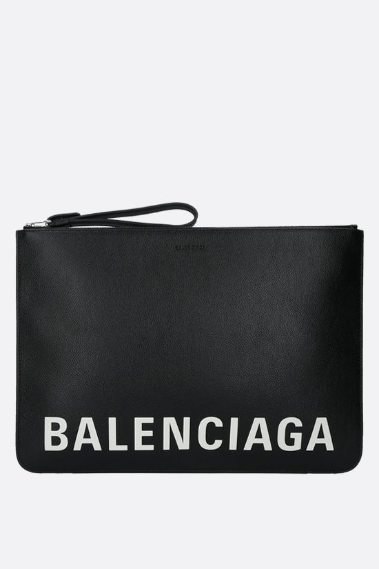 BALENCIAGA: Cash grainy leather pouch Color Black_1