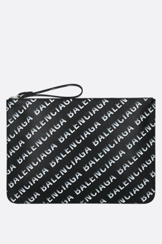 BALENCIAGA: Cash smooth leather pouch with Grad Logo print Color Black_1