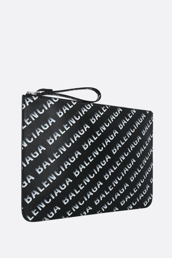 BALENCIAGA: Cash smooth leather pouch with Grad Logo print Color Black_2
