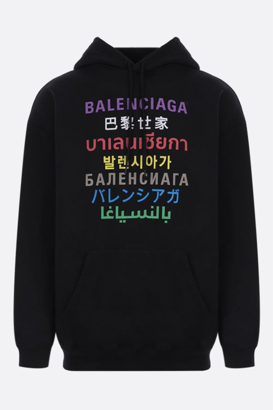 BALENCIAGA: logo print cotton blend hoodie Color Black_1