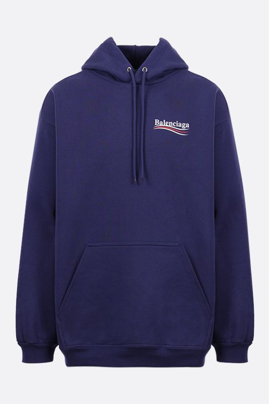 BALENCIAGA: Political Campaign oversize cotton hoodie Color Blue_1