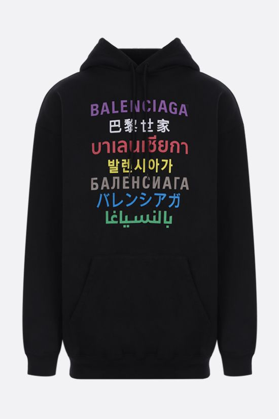 BALENCIAGA: Languages oversize jersey hoodie Color Black_1