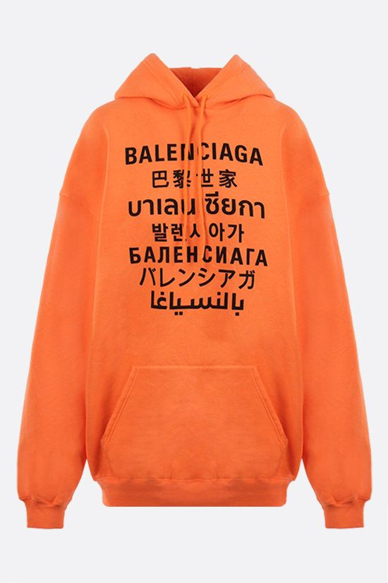 BALENCIAGA: Languages oversize jersey hoodie Color Orange_1