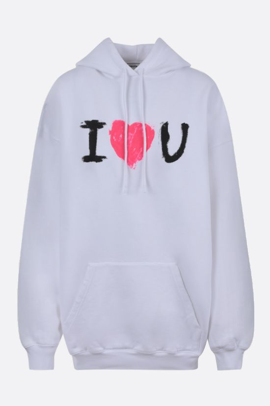 BALENCIAGA: oversized I Love U print cotton hoodie Color White_1