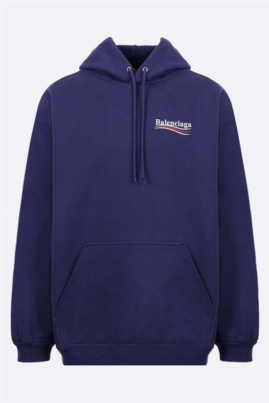 BALENCIAGA: Political Campaign cotton hoodie Color Blue_1