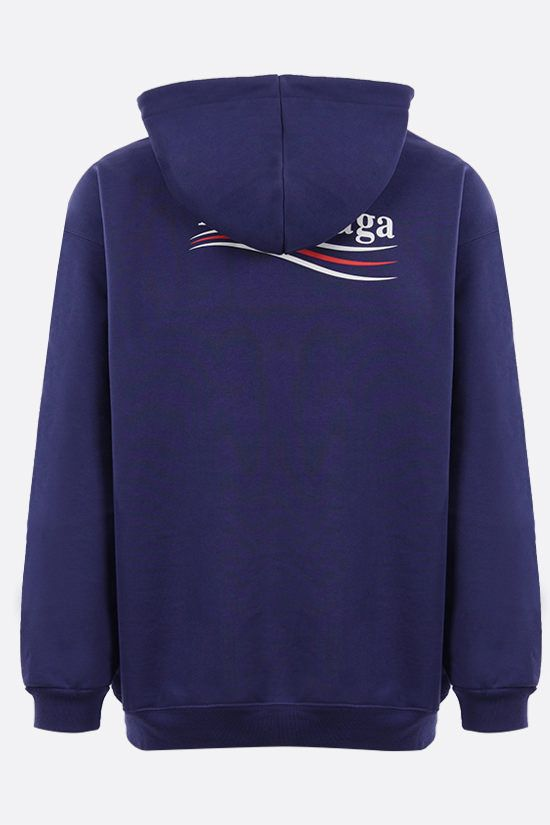 BALENCIAGA: Political Campaign cotton hoodie Color Blue_2