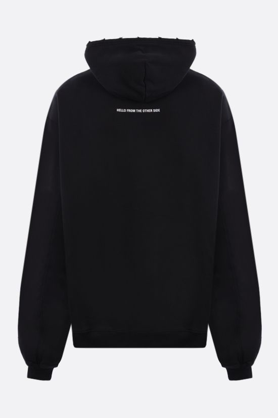 BALENCIAGA: Alien distressed-effect oversize cotton hoodie Color Black_2