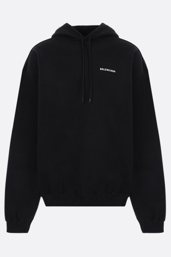 BALENCIAGA: Dèfilè oversize cotton hoodie Color Black_1