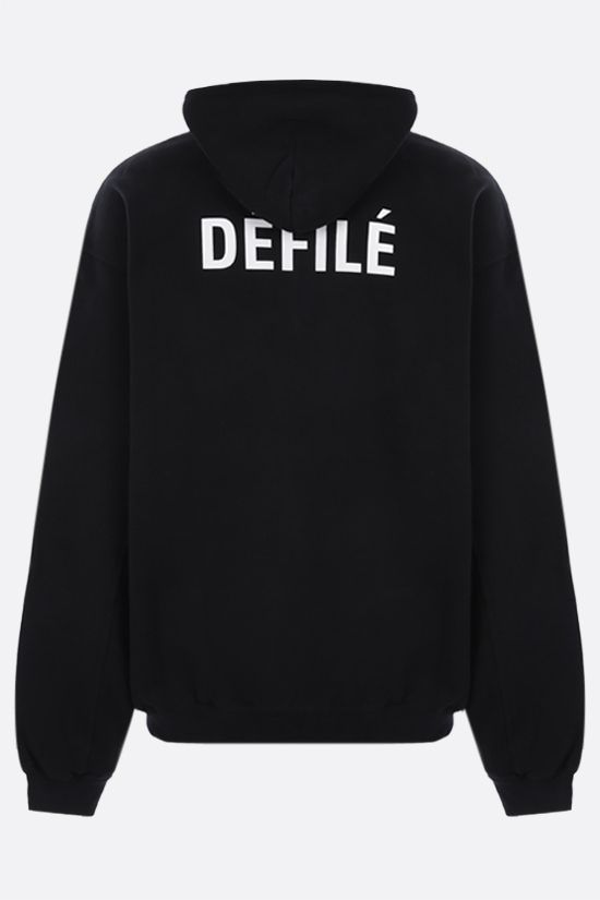 BALENCIAGA: Dèfilè oversize cotton hoodie Color Black_2