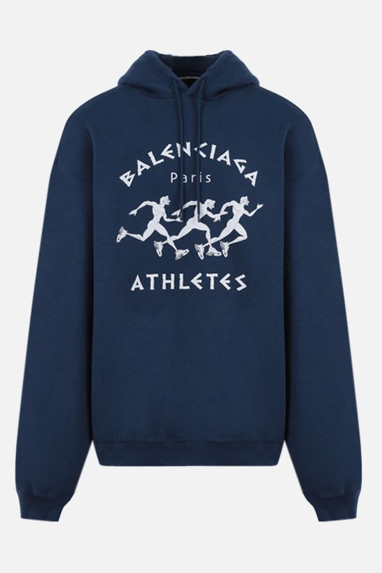 BALENCIAGA: oversize Athletes print cotton hoodie Color Blue_1