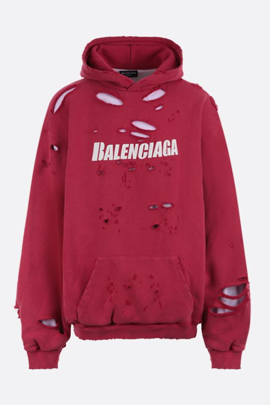 BALENCIAGA: Caps Destroyed oversize hoodie Color Red_1