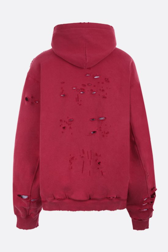 BALENCIAGA: Caps Destroyed oversize hoodie Color Red_2
