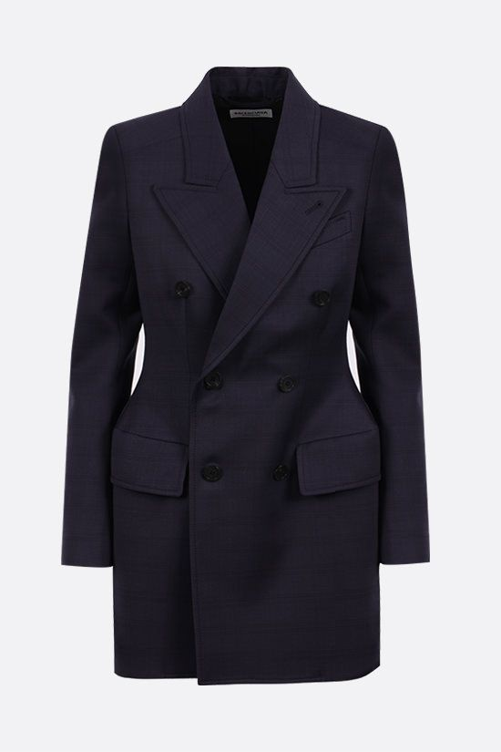 BALENCIAGA: hourglass double-breasted check wool jacket Color Blue_1