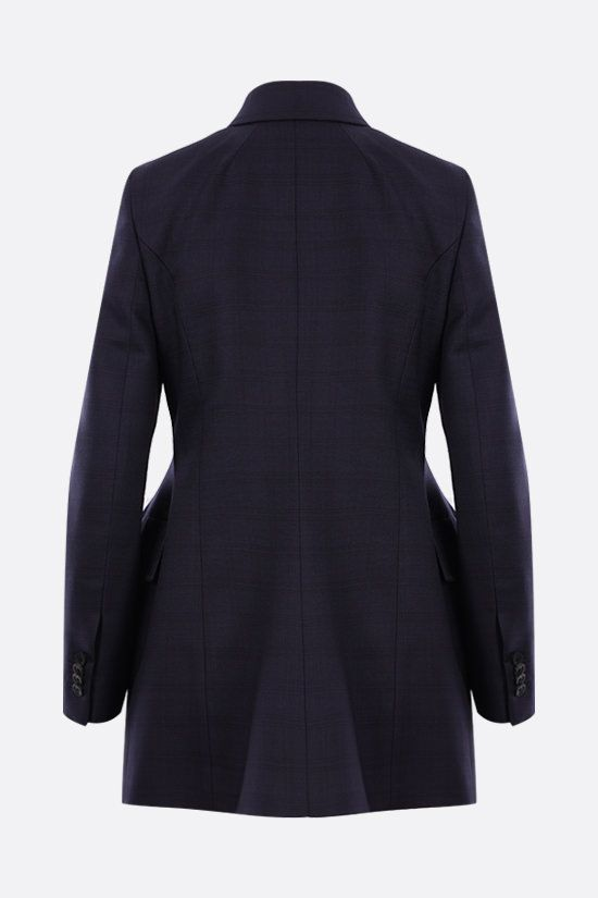 BALENCIAGA: hourglass double-breasted check wool jacket Color Blue_2